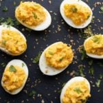Spicy deviled eggs topped with spicy panko bread crumbs